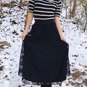Lularoe Black Lace Maxi Skirt